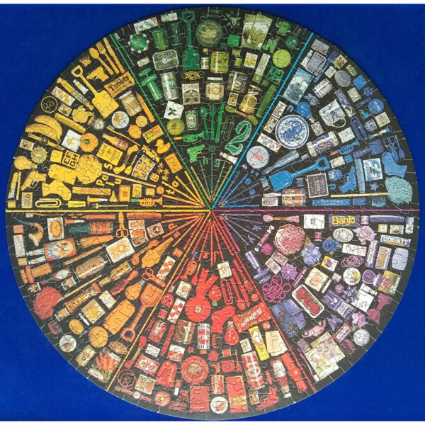 Arrow Puzzles The Spectrum Puzzle Round 500 pieces Jigsaw Complete Colourful Food and Household Goods Circular Montage