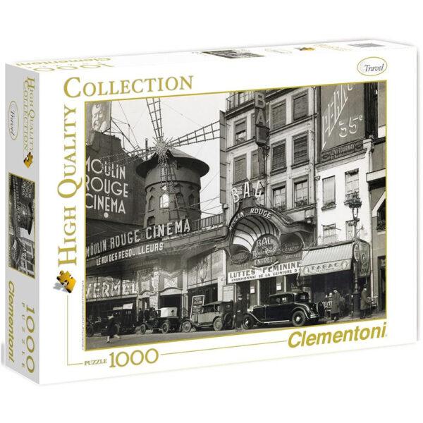 Clementoni Bal du Moulin Rouge 39238 Jigsaw Box Black & White Street Scene in Paris France