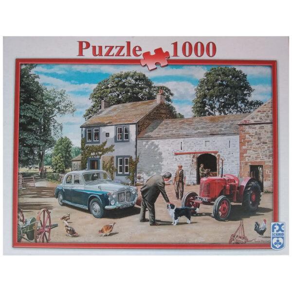 FX Schmid Greeting the Vet 006622 1000 pieces Jigsaw Box Nostalgic Farmyard Scene by Trevor Mitchell