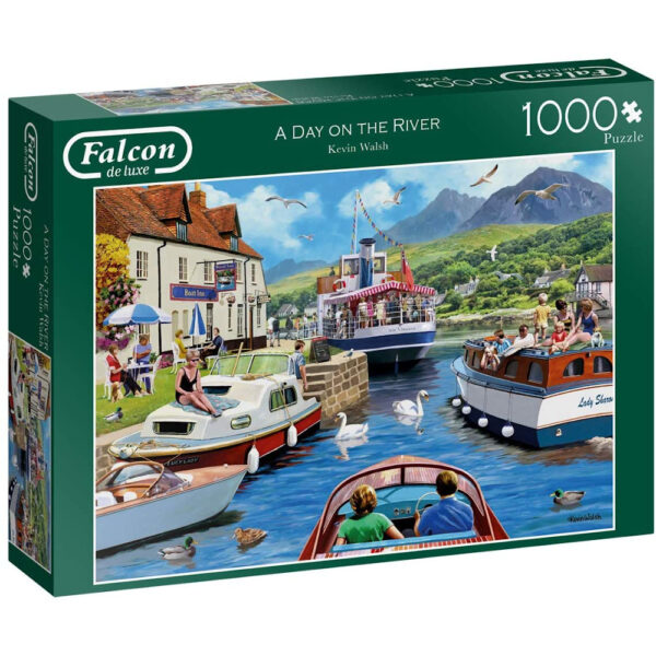 Falcon A Day on the River 11241 Jigsaw Box Pleasure Boats Pub and Mountains Scene by Kevin Walsh