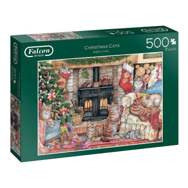 Falcon Christmas Cats 11239 Jigsaw Box Fireside Scene by Debbie Cook