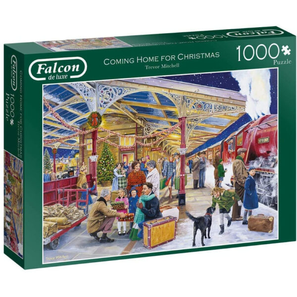 Falcon Coming Home for Christmas 11266 Jigsaw Box Railway Station Scene by Trevor Mitchell