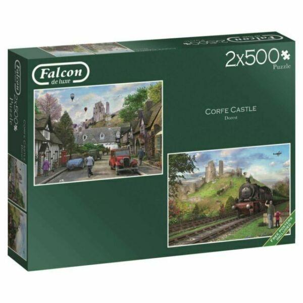 Falcon Corfe Castle Dorset Street and Railway Scenes by Dominic Davison 11152 2x500 pieces Jigsaw Box