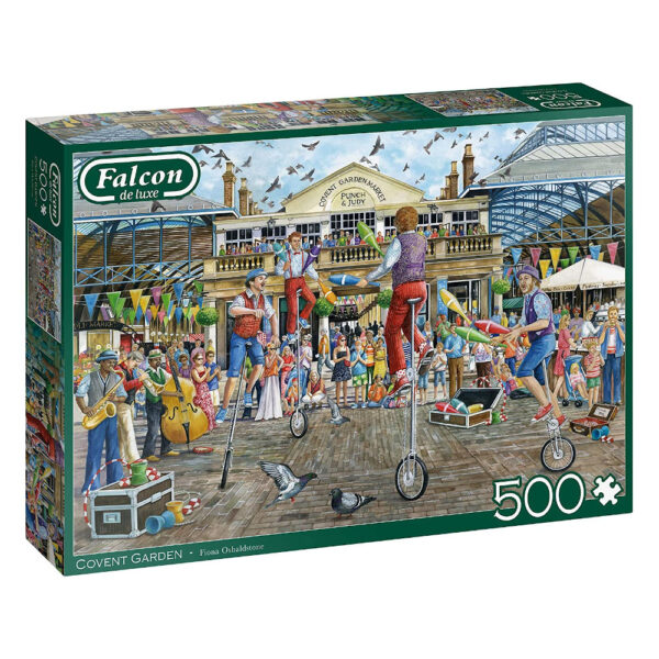 Falcon Covent Garden 11320 500 pieces Jigsaw Box Jugglers and Trick Cyclists in Covent Garden piazza London by Fiona Osbaldstone