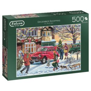 Falcon December Shopping 11184 Jigsaw Box Christmas Snow Scene by Vic McLindon