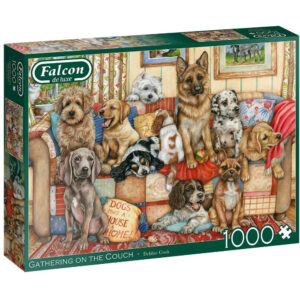 Falcon Gathering On The Couch 11293 Dogs Jigsaw Box