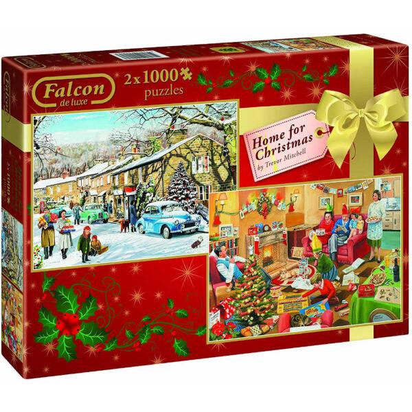 Falcon Home for Christmas 2x1000 10995 Jigsaw Box Snow Street and Home Scene