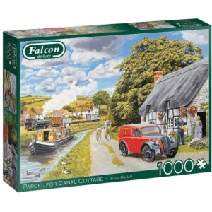 Falcon Parcel for Canal Cottage 11299 Jigsaw Box Nostalgic Scene with Steam Train, Narrowboat and Postman by Trevor Mitchell