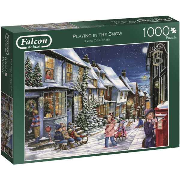 Falcon Playing in the Snow 11229 Jigsaw Box by Fiona Osbaldstone