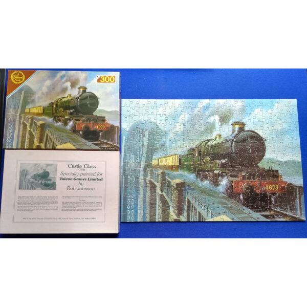 Falcon Steamtrains Castle Class GWR Rob Johnson 300 pieces Jigsaw Complete Box Back
