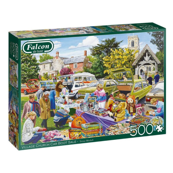 Falcon Village Church Car Boot Sale 11301 500 pieces Jigsaw Box Nostalgic Scenes with Toys by Trevor Mitchell
