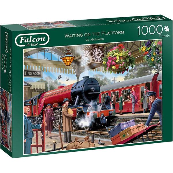 Falcon Waiting on the Platform 11250 Jigsaw Box Nostalgic Steam Train Scene by Victor McLindon