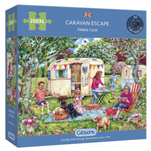 G2718 Gibsons Caravan Escape 250XL Jigsaw Box Caravan Holiday and Picnic Scene by Debbie Cook