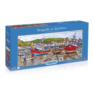 Gibsons Seagulls at Staithes G4045 Jigsaw Box Harbour Scene by Roger Neil Turner 636 pieces
