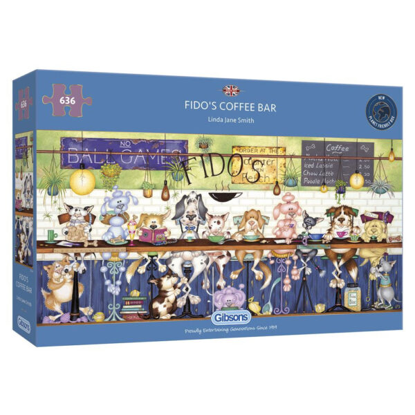 G4049 Gibsons Fido's Coffee Bar Jigsaw Box Dogs Cafe Cartoon by Linda Jane Smith