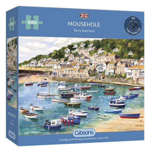 G6127 Gibsons Mousehole Jigsaw Box Harbour Scene by Terry Harrison