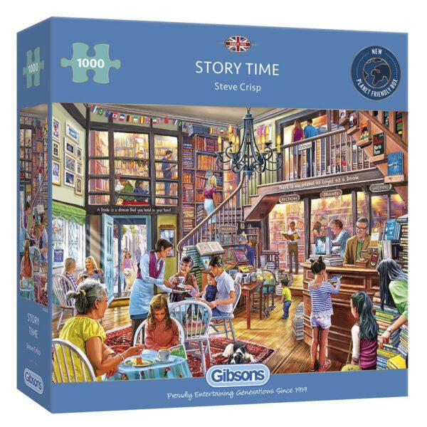 G6260 Gibsons Story Time Jigsaw Box Bookshop Scene by Steve Crisp