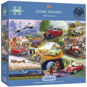 G6293 Gibsons Iconic Engines Jigsaw Box Cars Aeroplane Train