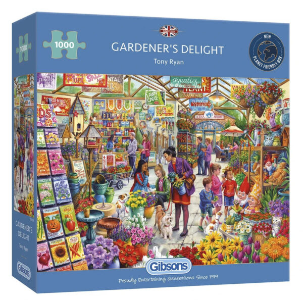 G6305 Gibsons Gardeners Delight Jigsaw Box Garden Centre Scene by Tony Ryan