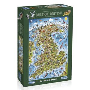 G7096 Gibsons Best of British 1000 Piece Jigsaw Box Cartoon Map of Britain by Hartwig Braun