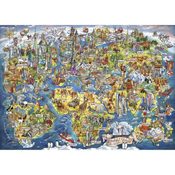 G7098 Gibsons Wonderful World Jigsaw Cartoon Animals Map Image by Maria Rabinky