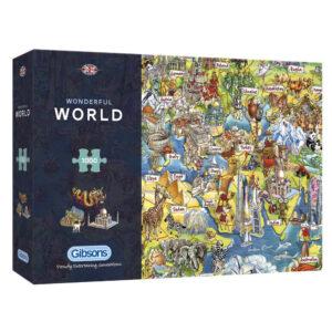 G7098 Gibsons Wonderful World Jigsaw Box Cartoon Animals Map by Maria Rabinky