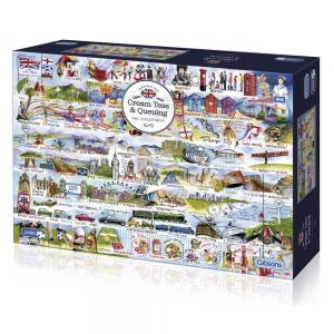 Gibsons Cream Teas & Queueing montage by Val Goldfinch G7100 1000 piece jigsaw box