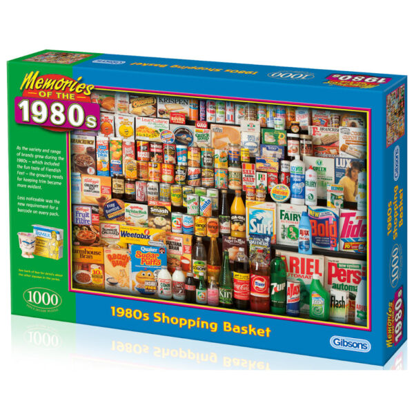 Gibsons 1980s Shopping Basket G7034 Jigsaw Box Food Brand Montage by Robert Opie
