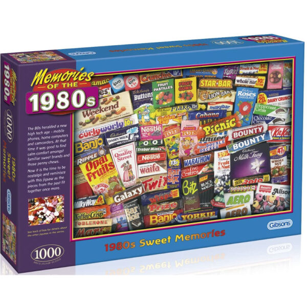 Gibsons 1980s Sweet Memories G7030 Jigsaw Box Memories of the 1980s Confectionery Montage by Robert Opie