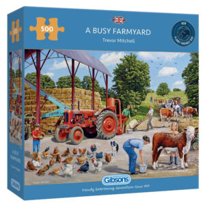 Gibsons A Busy Farmyard G3136 Jigsaw Box Farm Scene by Trevor Mitchell