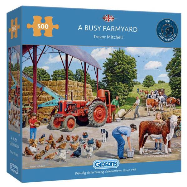 Gibsons A Busy Farmyard G3136 Jigsaw Box Farm Scene by Trevor Mitchell