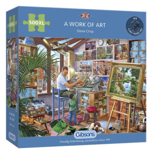 Gibsons A Work of Art G3542 Jigsaw Box 500XL pieces Steve Crisp Jigsaw Artist at Work