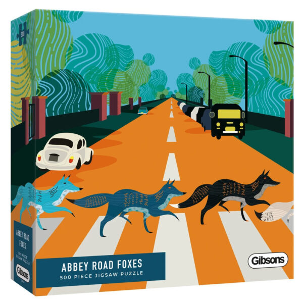 Gibsons Abbey Road Foxes G3605 Jigsaw Box 500 pieces Foxes Crossing Abbey Road Contemporary Image