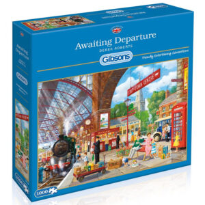Gibsons Awaiting Departure G6136 Train Station Derek Roberts 1000 pieces Jigsaw Box