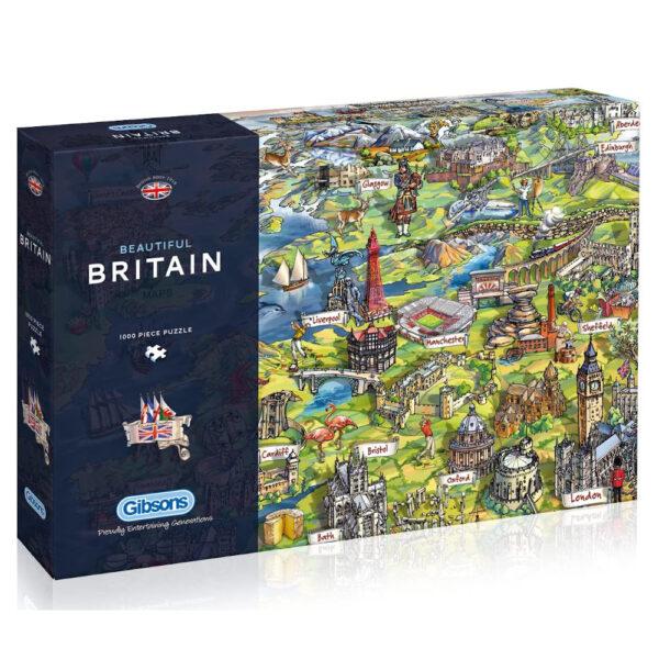 Gibsons Beautiful Britain Cartoon Map by Maria Rabinky G7080 1000 pieces jigsaw box