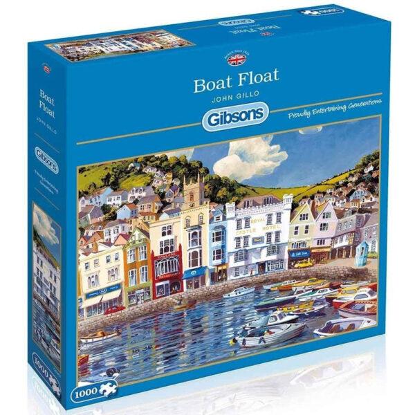 Gibsons Boat Float G6202 Jigsaw Box Dartmouth Harbour Scene by John Gillo