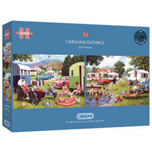 Gibsons Caravan Outings G5057 Jigsaw Box 2x500 Caravanning Holiday Scenes by Kevin Walsh