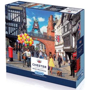 Gibsons Chester Britain's Best Streets G7074 Jigsaw Box City Scene including Eastgate Clock by Steve Read
