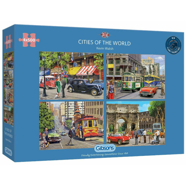 Gibsons Cities of the World Paris Melbourne San Francisco and Rome by Kevin Walsh G5044 4x500 pieces multibox jigsaw box