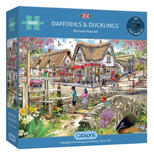 Gibsons Daffodils and Ducklings G6319 Jigsaw Box Village Scene by Richard Macneil