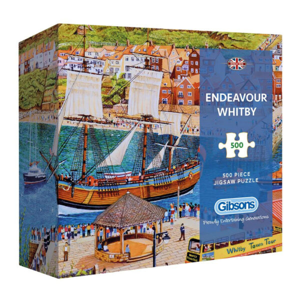 Gibsons Endeavour Whitby G3436 500 pieces Gift Box Jigsaw Ship Harbour Scene by Roger Neil Turner