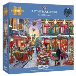 Gibsons Festive Boulevard David Maclean G3138 500 pieces jigsaw puzzle box