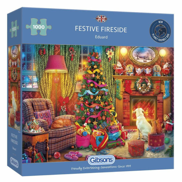 Gibsons Festive Fireside by Eduard G6330 1000 pieces jigsaw puzzle box