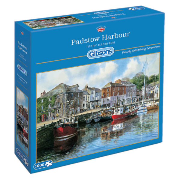 Gibsons G476 Padstow Harbour Jigsaw Box Boats Pub