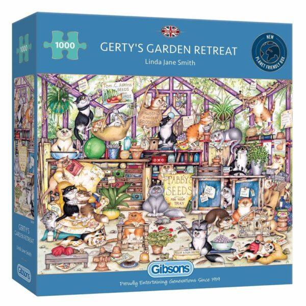 Gibsons Gertys Garden Retreat Cats Cartoon by Linda Jane Smith G6324 1000 pieces jigsaw box
