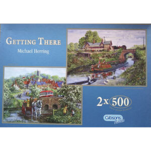 Gibsons Getting There 2x500 G863 Canal Boat and Pony Trap Scenes by Michael Herring Jigsaw Box