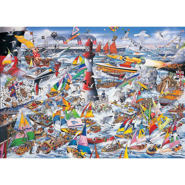 Gibsons I Love Boats G591 Jigsaw Image Mike Jupp Nautical Cartoon Scene 1000 pieces