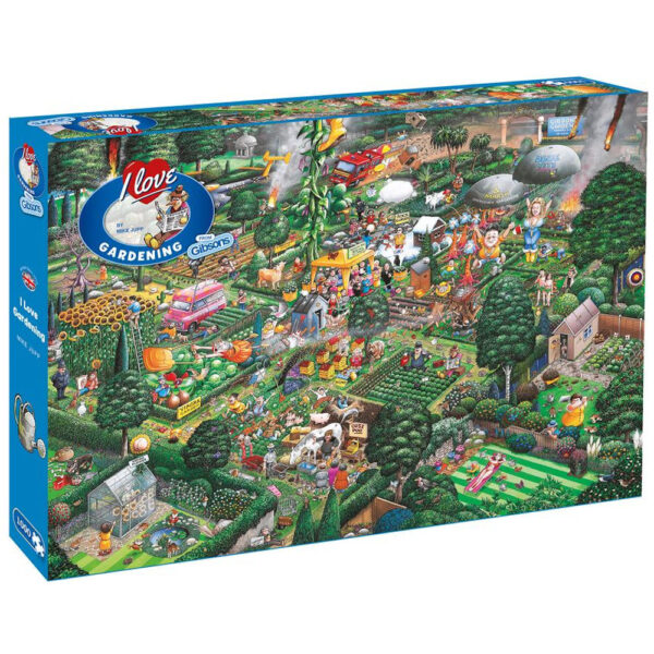 Gibsons I Love Gardening G811 Jigsaw Box Mike Jupp Cartoon Garden Scene