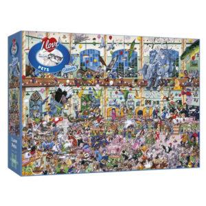 Gibsons I Love Pets G514 Jigsaw Box Cartoon Animals Scene by Mike Jupp