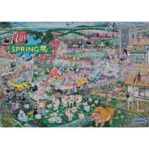Gibsons I Love Spring Cartoon Scene by Mike Jupp G7021 1000 pieces Jigsaw Box